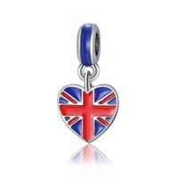 Wholesale Silver Heart Jewelry Factory Direct - 2017 new Korean version of jewelry Fit Pandora drop oil British flag love pendant European bracelet accessories factory direct