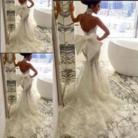 Wholesale Cheap Fishtail Gowns - Pallas Couture 2017 Lace Floral Long Train Mermaid Beach Wedding Dresses Sexy Backless Fishtail Train Beach Bridal Gowns With Big Bow Cheap