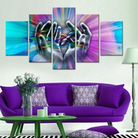 Wholesale Hand Spray Painting - 5 Pieces Canvas Art High Quality Modern Abstract Oil Painting Unframed Wall Art Hands Print Pictures For Bedroom Home decor