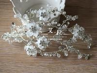 Wholesale Silicone Band Rhinestone Crystal - New Fashion Vintage Wedding Bridal Crystal Rhinestone Beaded Hair Accessories Headband Band Crown Tiara Clip Silver Headpiece Jewelry Set