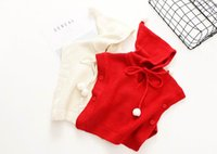 Wholesale Sleeveless Sweater Coat - 2017 Autumn New Baby Girl Knitting sweater Hooded pullover cloak coat Children Clothes bbx870
