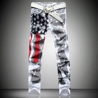 Wholesale Graffiti Skinny Jeans - Wholesale-Stylish Men's Slim-fit Jeans Casual Straight Pants USA American Flag Jeans Men Hip-hop Striped Graffiti Print Skinny Trousers