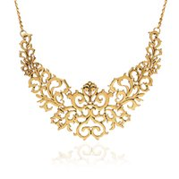 Wholesale Necklace Flowers Neon - Wholesale- 2016 Summer Style Gold Sliver plated Hollow Flower Collar Choke Chain Neon Bib Necklace charms jewelry For Women