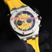 Wholesale Brands Japanese Movement Watches - 5 pin oak men's watches top brands high quality Japanese quartz chronograph movement rubber band yellow dial free shipping