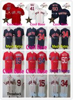Wholesale 15 Yellow - Stitched Jersey 9 Ted Williams 41 Chris Sale Jerseys Boston Red Sox 34 David Ortiz 15 Dustin Pedroia 50 Mookie Betts Basketbal Jersey