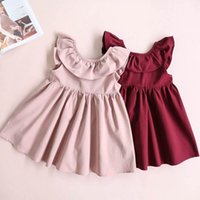 Wholesale Wholesale Backless Dresses - 2017 Summer New Girls Dresses Ruffle Collar Backless Bow Sleeveless Sundress Children Clothes 2-6Y 16357