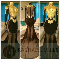 Wholesale Long Sequin Dresses Cheap Online - High Neck Sheer Long Sleeves See Through Mermaid Prom Dresses Sexy Gold Lace Appliques Cheap Slim Vestidos De Soiree Custom Online