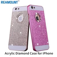 iphone logo deliği toptan satış-50 adet Bling Kristal LOGO Delik Glitter Toz Sert Plastik Lüks Arka Kapak Kılıf iphone 6 s fundas Coque