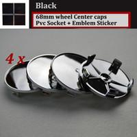 Wholesale Plastic Rims Wheels - Hot 68mm 2.68inch for Full Black logo pvc for BMW car wheel center Hub Caps Emblem Rims car caps for E46 E36 E39 E38 E90 E60 M3 M5