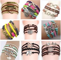 Wholesale Leather Chain Bracelet Wholesale - 54 styles charms jewelry bracelets charms infinity bracelet for women and men Anchor cross owl Branch love bird believe