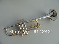 Wholesale Bach C Trumpet - wholesale Bach Type C Trumpet The Small Brass Silver Plated Instruments C180ML239 Trumpet Professional Musical Instruments Trompete