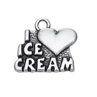 Encanto ICE CREAM Love Icecream Message Productos de venta caliente Silver Plated Geometric Charm Moda colgante de DIY NecklaceBracelet FOR LOVER
