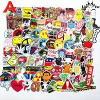 Wholesale black wall decor stickers - 100pcs x6 not repeating waterproof stickers for Home decor Travel Suitcase Wall Bike fridge Sliding Plate Car Styling sticker
