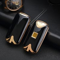 Wholesale New Hot Electronic - 2017 new fashion and hot selling USB Electric Dual Arc Metal Flameless fingerprint Rechargeable Windproof Lighter