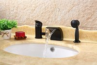 Wholesale Sink Bathtub Faucet - Waterfall Bathroom Sink Faucet Bronze Widespread Bathtub Faucet with Hand Shower