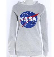 Wholesale Winter Women Tee - 2016 Autumn Winter Women NASA Printed Pullover Sweatshirt Loose Jumper Baseball Hoodies Tee Tops Blouse Free Shipping