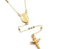 Wholesale Virgin Mary Rosary Wholesale - 18K Gold Plated Catholic Virgin Mary Guadalupe Womens Men Beads Rosary Chain Necklace Jewelry Hip Hop Cross Necklace