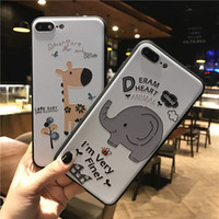 Wholesale Elephant Iphone 3d - Cartoon Letters 3D Reliefs Animal Elephant Giraffe Phone Cases For iphone x 8 7 Plus 5s 6s Matte Soft Silicon Cover For iphone8 Coque