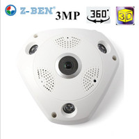 webcams ip achat en gros de-ZBEN 2019 Brand New 360 Degrés Panorama VR Caméra HD 1080 P / 3MP Sans Fil WIFI Caméra IP Système de Surveillance de Sécurité À Domicile Webcam CCTV P2P
