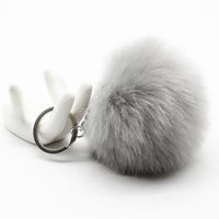 Wholesale Big leather pom Keychain CM good quality KeyChain Rabbit Hair Bulb Bag Fur Ball Pendant cute for women key ring