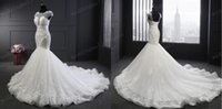 Wholesale Brilliant Trumpet - Lace Applique Mermaid Sweep Train White Lace-up Short Sleeve Sexy Wedding Dresses Brilliant Wedding Gowns Charming