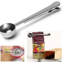 kaffee-clips großhandel-Edelstahl gemahlener Kaffee Tee Milchpulver Mess Scoop Löffel mit Tasche Verschluss Clip Küche Kochen Unterstützung Werkzeug DIY 2pc h126