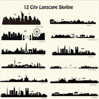 Wholesale New York Wall Decals - London New York etc Skyline Wall Stickers City Building Walll Decals City Silhouette Wall Art For Family Couples Home Decor Free Shipping