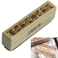 Wholesale Stamping Scrapbook - Wholesale- Retro Wooden Rubber Stamp Seal Flower Floral Lace Border Scrapbook Craft Card