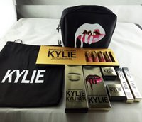 Wholesale Brush Bundle - Kylie Gift Box Golden Box Gloss Suits Makeup Bag Birthday Collection Cosmetics Birthday Bundle Bronze Kyliner Kylie Jenner Brow Brush
