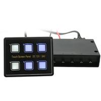 panel vga al por mayor-Interruptores universales de pantalla táctil de 12-24 V Panel 6 Interruptor LED de encendido y apagado con enchufes VGA para remolque Caravana Autobús Barco Marina