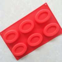 Wholesale Silicone Shaped Oval - DIY silicone products 6 even oval egg - shaped silicone handmade soap mold jelly pudding silicone cake mold