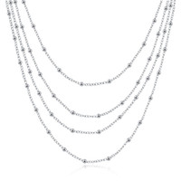 Wholesale nice christmas lights - new arrival Four layers of light beads sterling silver plated jewelry necklace for women WN751,nice 925 silver Pendant Necklaces with chain