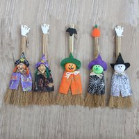 Wholesale female pumpkin - Halloween Decoration Pumpkin Wizard Ghost Female Witches Brooms Lovely Children Cartoon Dolls Party Props Hot Sale 6 5sl F R