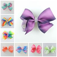 Wholesale Rainbow Bow Tie - 50pcs jojo 11cm center Jeweled Pastel flora ombre ribbon hair bows Alligator clips Rainbow Striped hair ties Accessories HD3477
