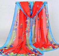 Wholesale Match Fixing - Fashion All Match Summer Scarves Women Beach Scarf Chiffon Printed Samll Floral Sarongs Fix Position XQ 267