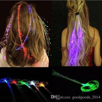 Wholesale Fiber Optic Hair Accessories - LED hair accessories LED girl hair light bulb Fiber Optic Lights Up Hair Barrette Braid jewelry sets With retail packaging a816