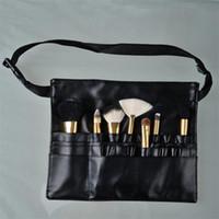 ingrosso cinghie del sacchetto all'ingrosso-Grembiule di spazzola di trucco di tre arricciature con il panno di cuoio della cinghia dell'artista compongono il sacchetto del pennello i sacchetti cosmetici professionali dei casi