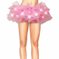 Wholesale Multicolor Tutus - Lighting Party Gauze Dress LED Light Multicolor Mesh Legging Petticoat Dance Rave Tutu Skirt For Club Runway Perform Show
