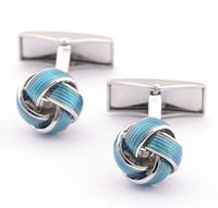 Wholesale Cufflinks Fabric - 2016 NEW Wholesale 10 pairs Retro French blue fabric knot Cufflinks for men Garment Accessories Wedding birthday holiday GD0126