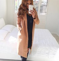 Wholesale camel wool coat women - 2016121038 Winter warm wool blend female coat Autumn 2016 casual turndown collar overcoat Classical camel long coats outerwear