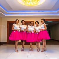 vestidos curtos de casamento tamanho 18w venda por atacado-Plus Size Vestido De Dama De Honra Africano Jóia Curta Mangas Compridas Com Applique Lace Wedding Length Wedding Guest Zipper Voltar