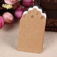 Wholesale Paper Flower 5cm - Wholesale- 3*5cm 100 Pcs Lot Flower Head Rectangle Shape Brown Black White Blank Kraft Paper Marked Label Hand Draw Wedding Party Tags Card