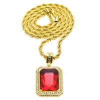 cadeia octagon venda por atacado-Colar de Diamantes de ouro Dos Homens Congelados Out Rubi Octagon Hip Hop Pingente com Cadeia de Moda Jóias Presente de Natal