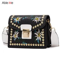 Wholesale Bow Cross Body Bag - New 2017 Vintage Small Lock Messager Bags Women Embroidery Shoulder Flap Ladies Floral Embroidered Crossbody Bag with Rivet