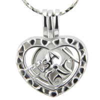 Wholesale Locket Hearts Wholesale - 18K Silver Plated Heart for Girl Cage Pendant, pack of 5pcs, 20.4*16.8*8.8mm