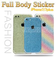 glitter apple sticker toptan satış-Apple kesim tam vücut glitter sticker elmas bling yapışkan kapak İnce film cilt koruyucuları iphone 7 6 artı samsung s7 s6