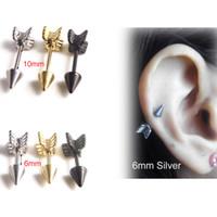 falso brinco venda por atacado-Studs de aço inoxidável de ouro brinco barbell industrial linda forma de seta cirúrgica anel orelha tragus piercing hélice falso cone