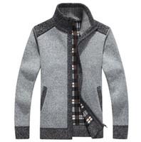 Wholesale Turtle Neck Men Knitwear - New Arrives Winter Men's Cardigans Sweaters Mandarin Collar Casual Clothes For Men Zipper Sweater Warm Knitwear Sweater