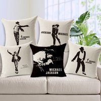 Wholesale Blue Dancer - Moonwalk Dancer King Michael Jackson Cushion Cover Square Cushion Pillow Cover Breathable Cotton Linen Pillow Case for Living Room Sofa Car