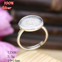 100% Sterling 925 Silver Open Couple Anel Jóias 13 * 16/15 * 15MM DIY BEADS Gemstone Base Tray Antique Silver / Gold